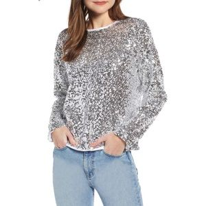 Something Navy Silver Sequin Pullover Sweater